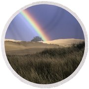 Rainbow And Dunes Round Beach Towel