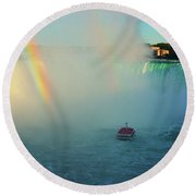 Rainbow At Horseshoe Falls Round Beach Towel