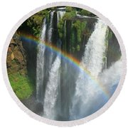 Rainbow At Iguazu Falls Round Beach Towel