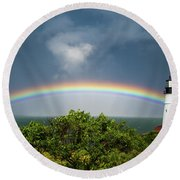 Rainbow At Portland Headlight Round Beach Towel