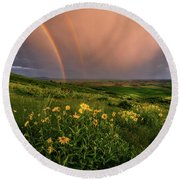 Rainbow At Steptoe Butte Round Beach Towel