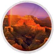 Rainbow At The Grand Canyon Round Beach Towel
