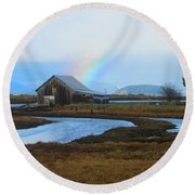 Rainbow, Bay, And Barn Round Beach Towel