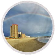 Round Beach Towel featuring the photograph Rainbow Beach by Kelly Reber