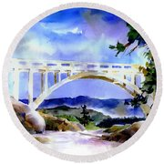 Rainbow Bridge Above Donnerlk#2 Round Beach Towel