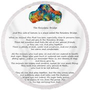 Rainbow Bridge Poem With Colorful Paw Print By Sharon Cummings Round Beach Towel