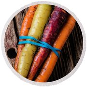 Rainbow Carrots Round Beach Towel by Garry Gay