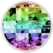 Rainbow Checker Skull Splatter Round Beach Towel