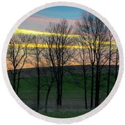 Rainbow Color Tree Horizon Round Beach Towel