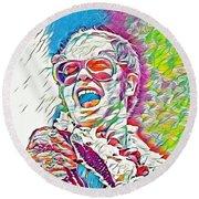 Rainbow Colors Elton John Round Beach Towel