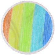 Rainbow Crayon Drawing Round Beach Towel by GoodMood Art