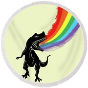 Rainbow Dinosaur Round Beach Towel