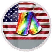 Rainbow Dog Tags Round Beach Towel