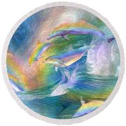Rainbow Dolphins Round Beach Towel by Carol Cavalaris