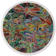 Round Beach Towel featuring the mixed media Rainbow Dragonflies by Carol Cavalaris