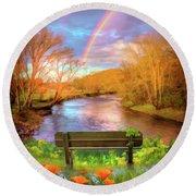 Rainbow Dreams Impressionism Round Beach Towel