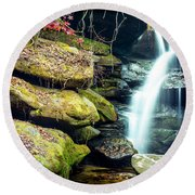 Round Beach Towel featuring the photograph Rainbow Falls At Dismals Canyon by David Morefield