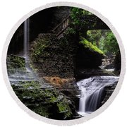 Rainbow Falls Round Beach Towel