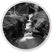 Rainbow Falls Gorge - Watkins Glen Round Beach Towel