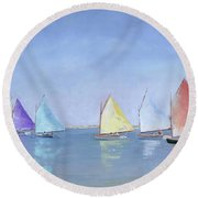 Rainbow Fleet Round Beach Towel