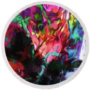 Rainbow Flower Rhapsody Red Turquoise Blue Round Beach Towel