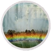 Round Beach Towel featuring the photograph Rainbow Fountain In Vienna by Mariola Bitner