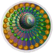Rainbow Fractal Round Beach Towel