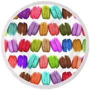 Rainbow French Macarons Round Beach Towel