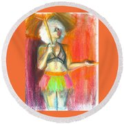Round Beach Towel featuring the drawing Rainbow by Gabrielle Wilson-Sealy
