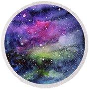 Rainbow Galaxy Watercolor Round Beach Towel