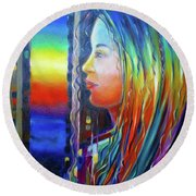 Round Beach Towel featuring the painting Rainbow Girl 241008 by Selena Boron