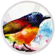 Rainbow Hummingbird Watercolor Round Beach Towel