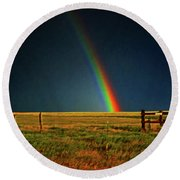Round Beach Towel featuring the photograph Rainbow In A Field 001 by George Bostian