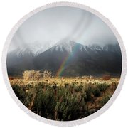 Rainbow In Eastern Sierra Nevadas Round Beach Towel