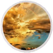 Rainbow In Sunset Clouds Round Beach Towel