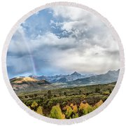Round Beach Towel featuring the photograph Rainbow In The San Juan Mountains by Jon Glaser