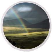 Rainbow In The Valley Round Beach Towel by Andrew Matwijec