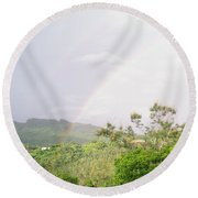 Rainbow In Villalba, Puerto Rico Round Beach Towel