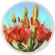 Round Beach Towel featuring the photograph Rainbow Lilies by Lois Bryan