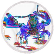 Rainbow Lobster On Acid Round Beach Towel