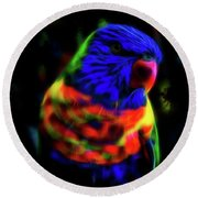 Rainbow Lorikeet - Fractal Round Beach Towel