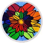 Rainbow Lotus Flower Round Beach Towel