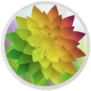 Round Beach Towel featuring the digital art Rainbow Lotus by Mo T