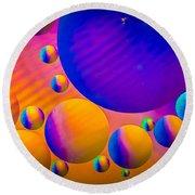 Rainbow Moons Abstract Round Beach Towel by Bruce Pritchett