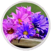 Rainbow Mums 2 Of 5 Round Beach Towel by Tina M Wenger