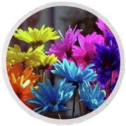 Rainbow Mums 5 Of 5 Round Beach Towel by Tina M Wenger