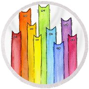 Rainbow Of Cats Round Beach Towel