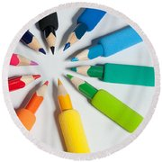 Rainbow Of Crayons Round Beach Towel