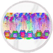 Round Beach Towel featuring the painting Rainbow Of Painted Frogs by Nick Gustafson