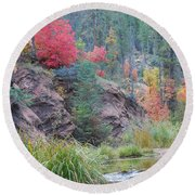 Rainbow Of The Season With River Round Beach Towel